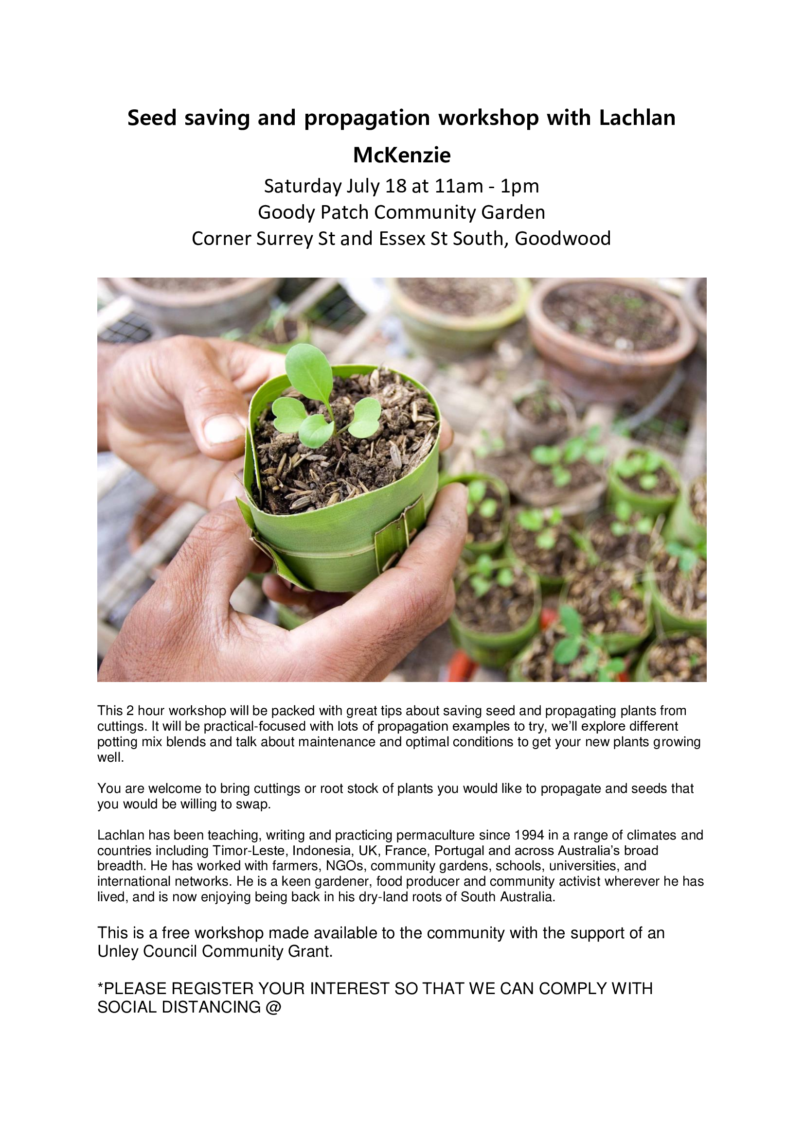 Seed saving and propagation workshop